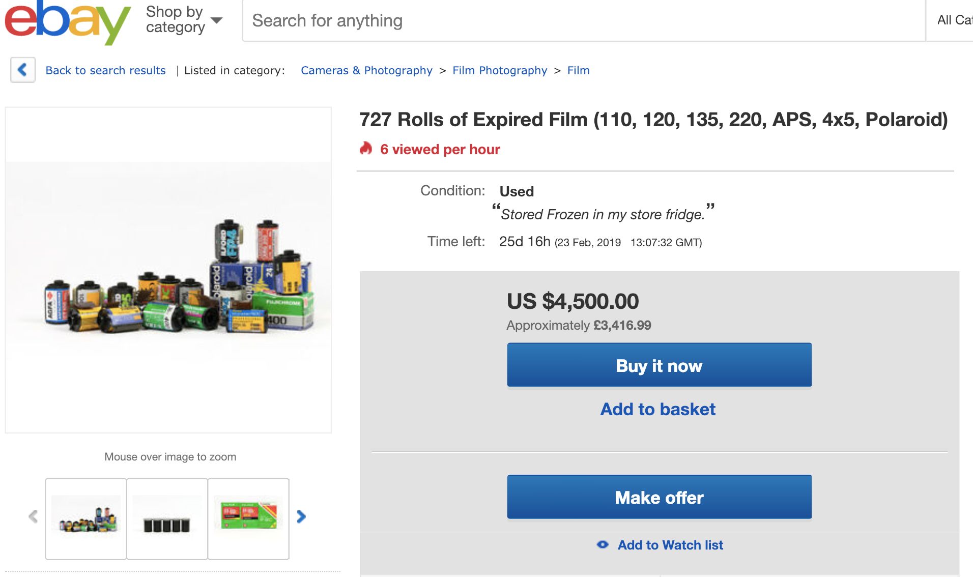 eBay blisting screenshot