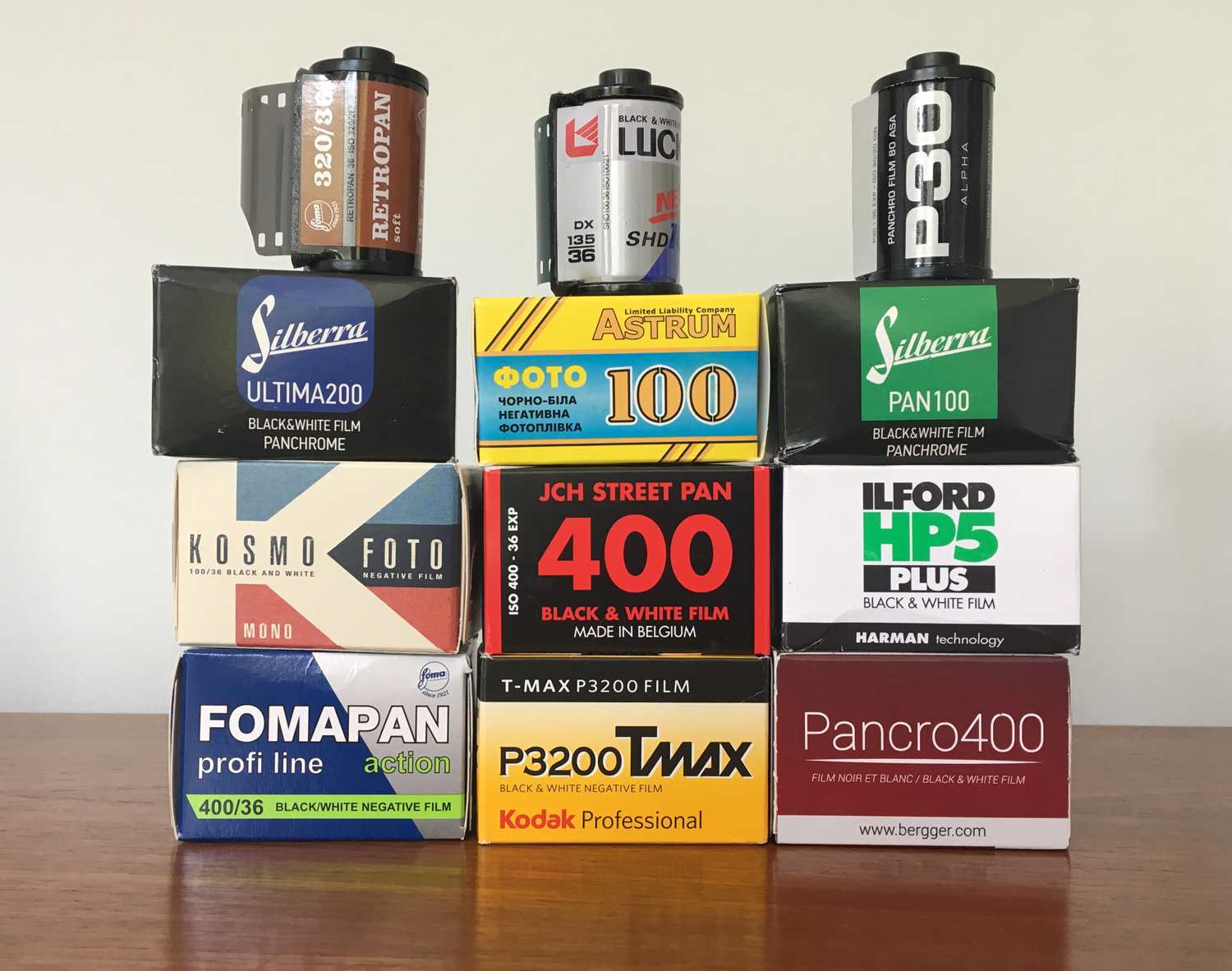 Boxes of black-and-white film