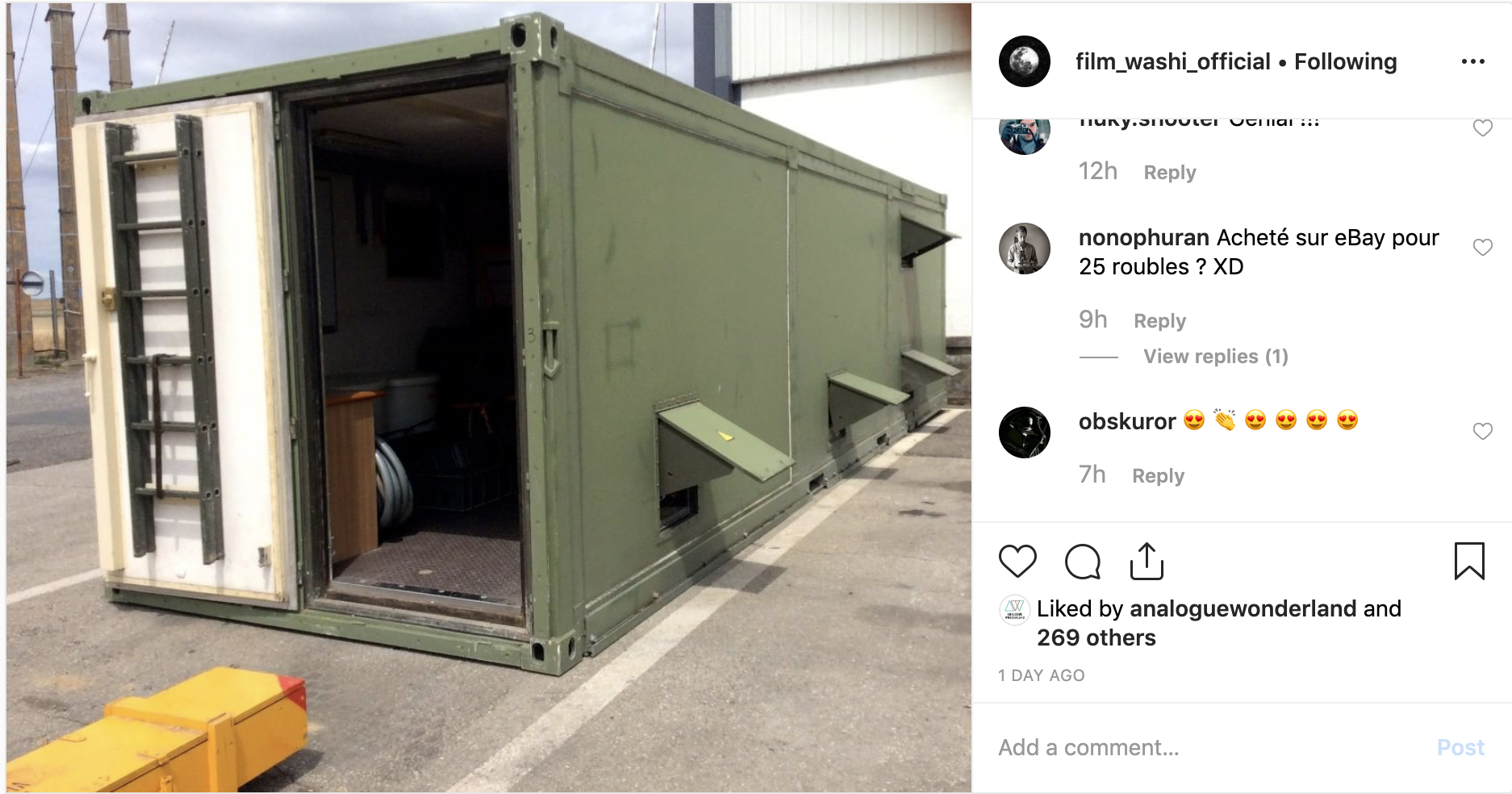 Photo of mobile darkroom (Pic: Film Washi/Instagram)
