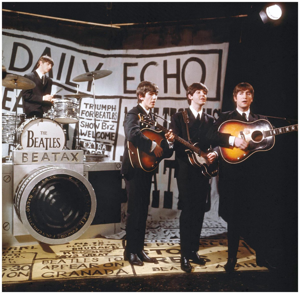 Beatles with Beatax camera (Pic: Granada Studios)
