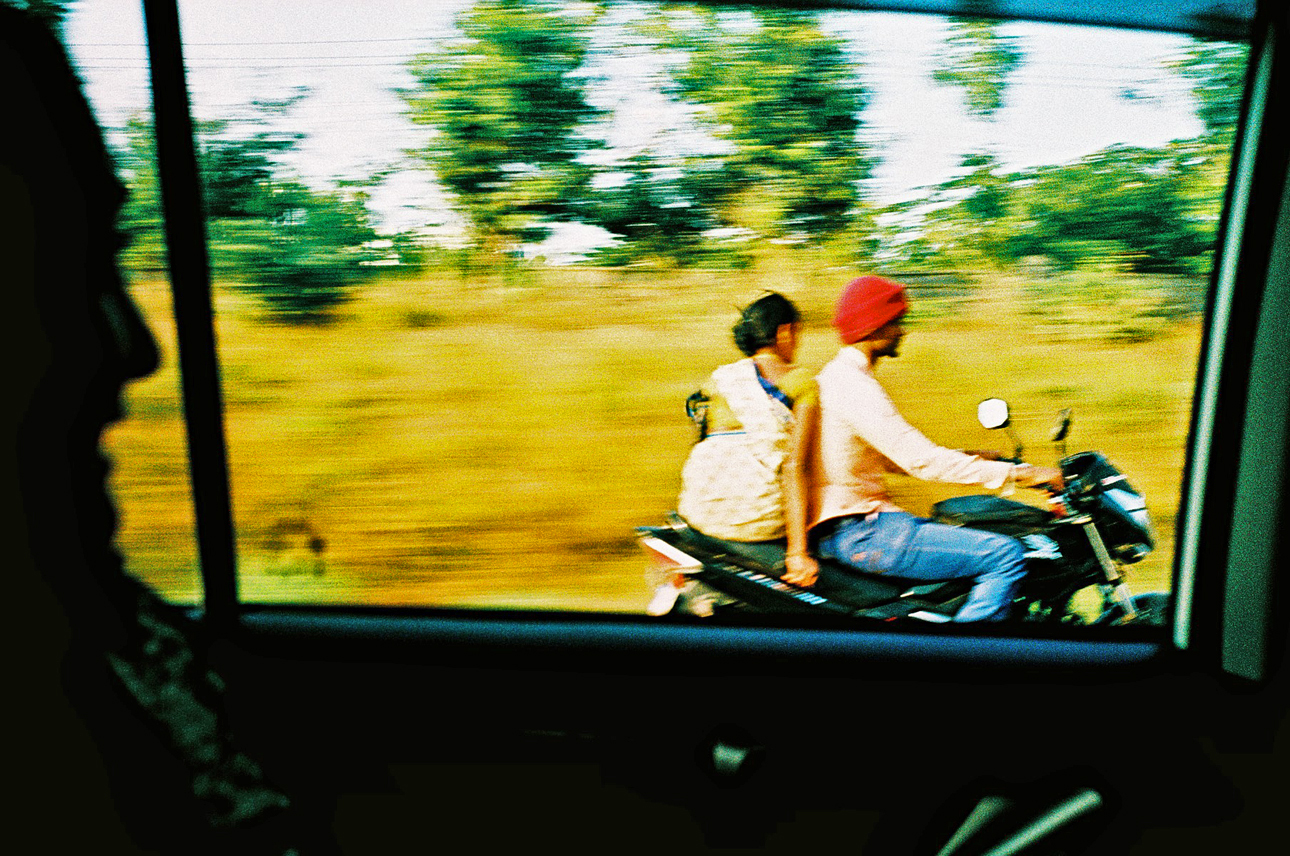 Couple on bike in India
