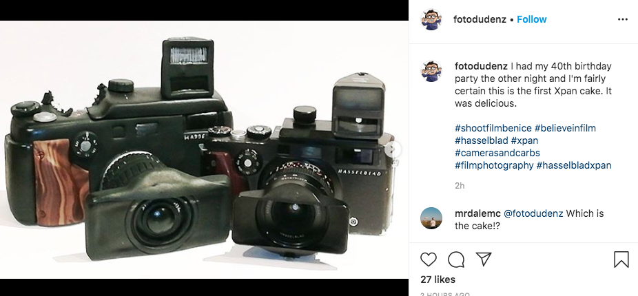 Xpan cake and camera (Pic: Fotodudenz/Instagram)