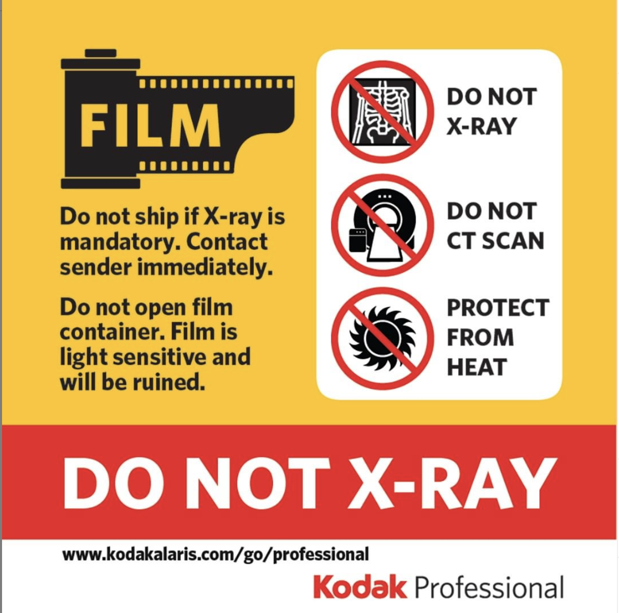 New film warning sticker (Pic: Kodak Alaris/Instagram)
