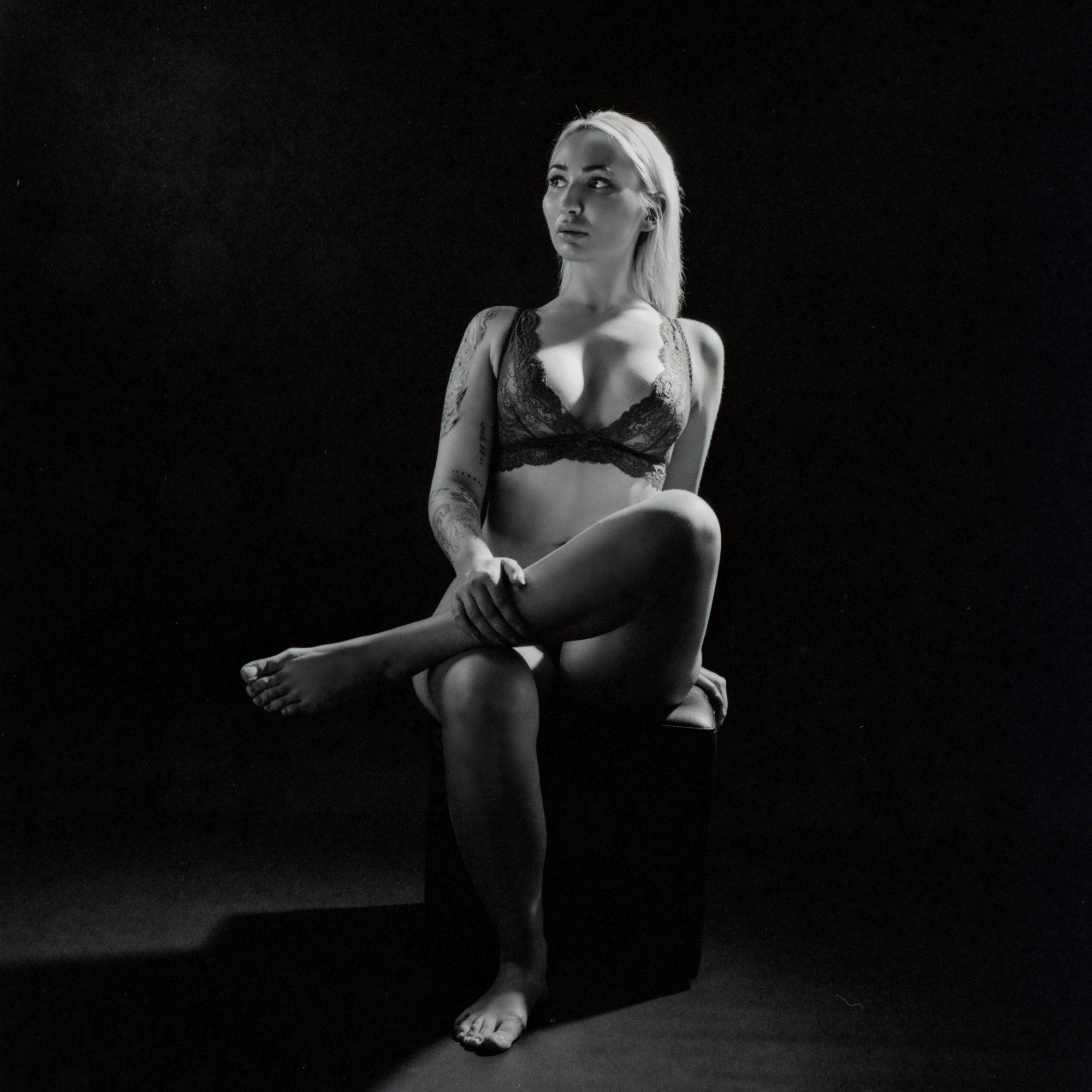 Tattooed model in lingerie (Pic: Iain Compton)