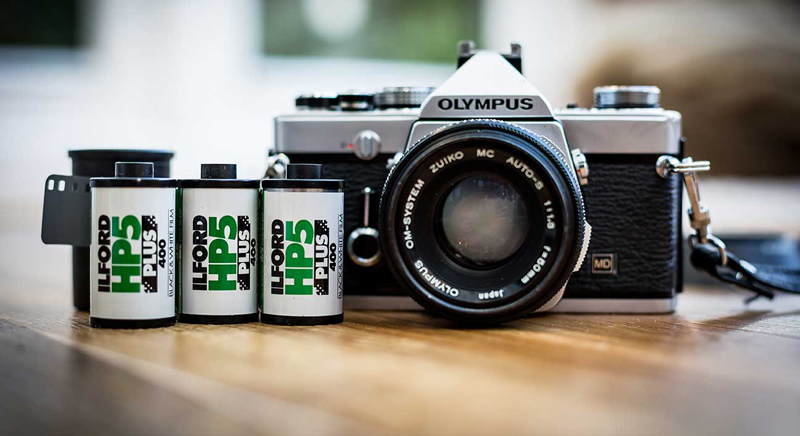 Ilford HP5 and camera (Pic: Ilford Photo)