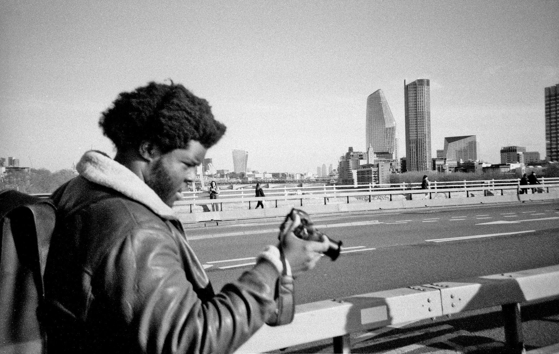 Man checking camera on bridge (Pic: Stephen Dowling)
