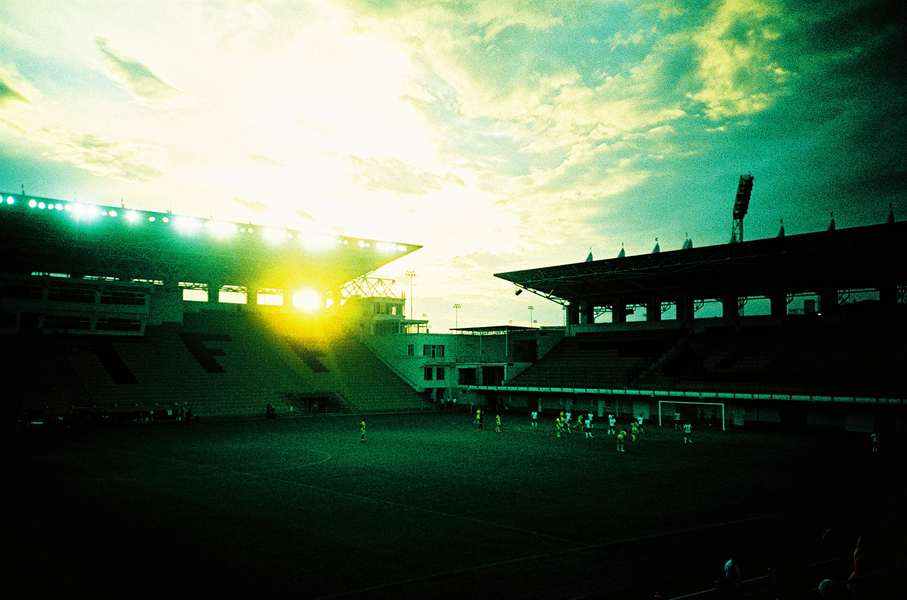 Sheriff Tiraspol ground at dusk (Pic: Stephen Dowling)
