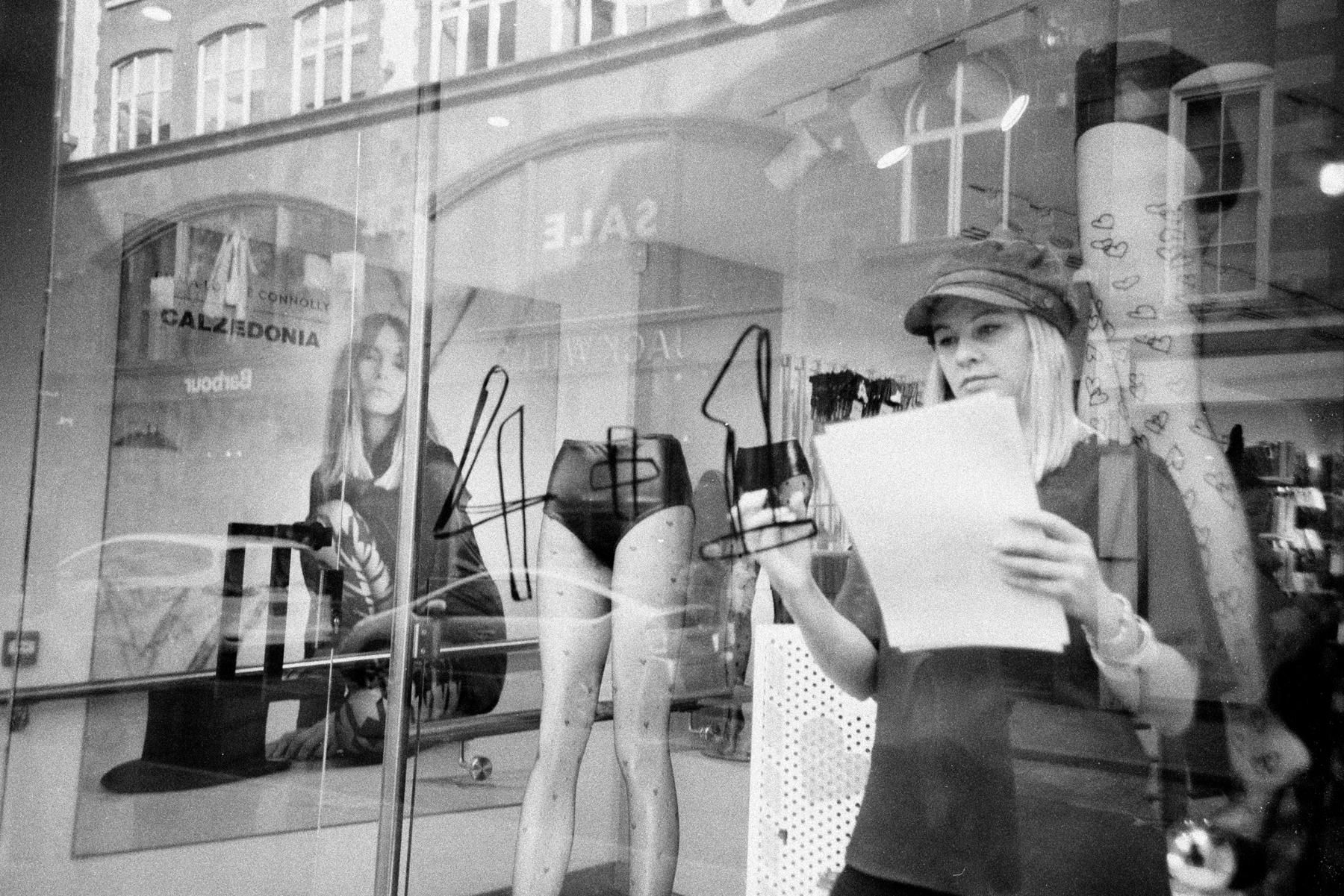Woman in shop window
