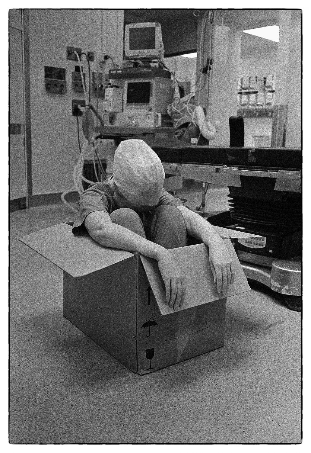 Hospital worker in box (Pic: David Collyer)
