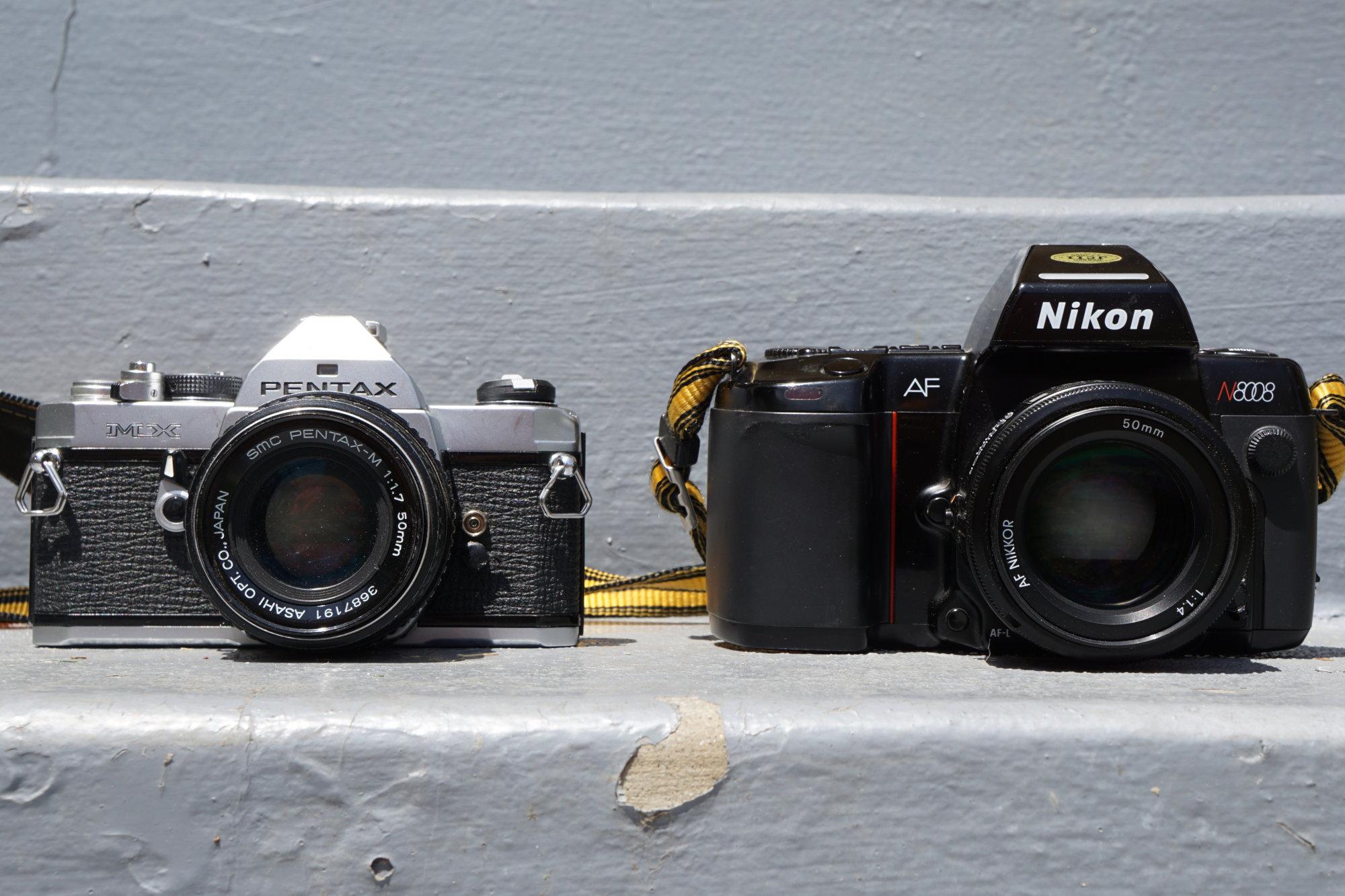 Pentax MX and Nikon N8008 (Pic: Aaron Gold)