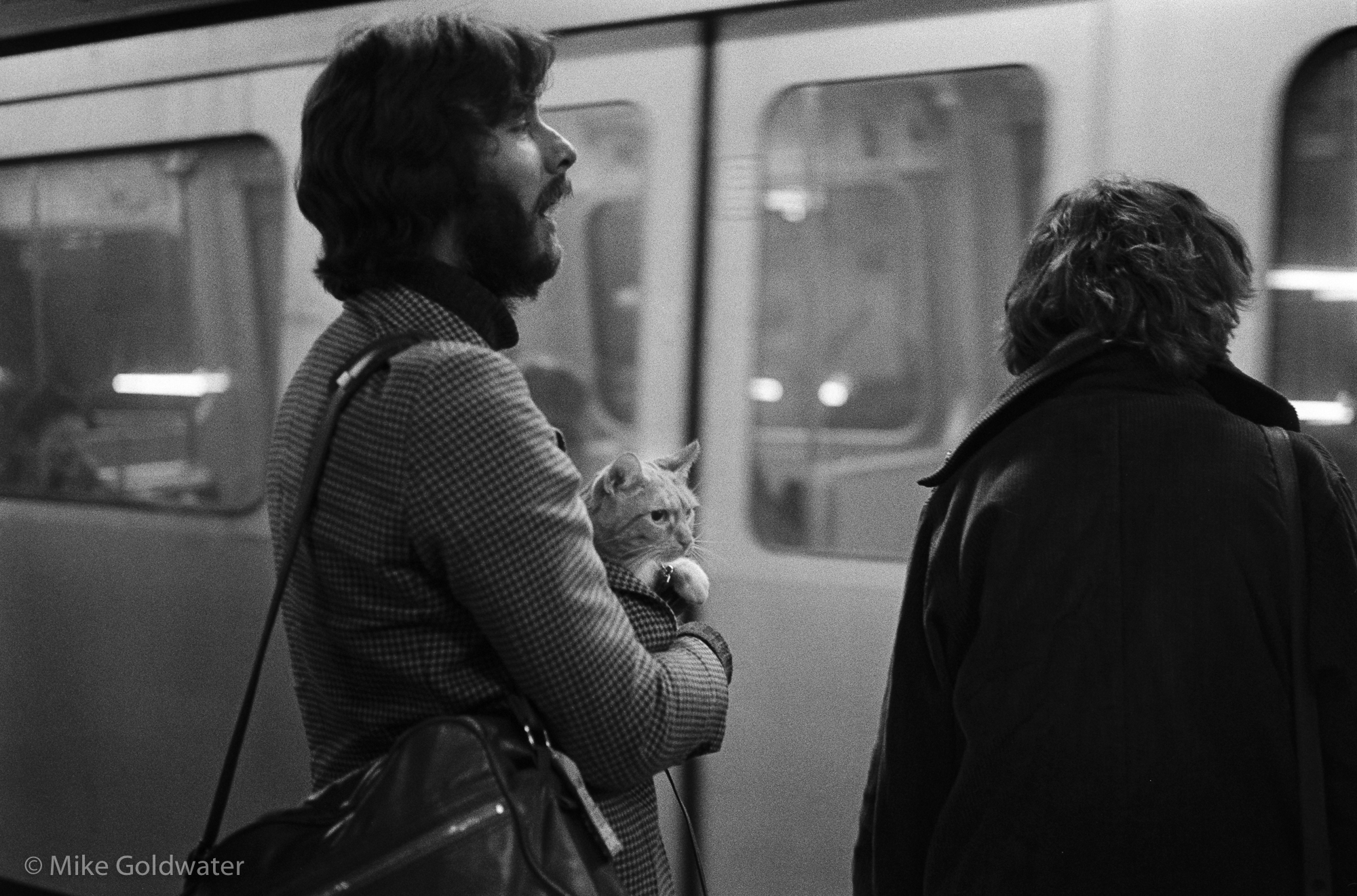 Man on Tube platform with cat (Pic: Mike Goldwater)