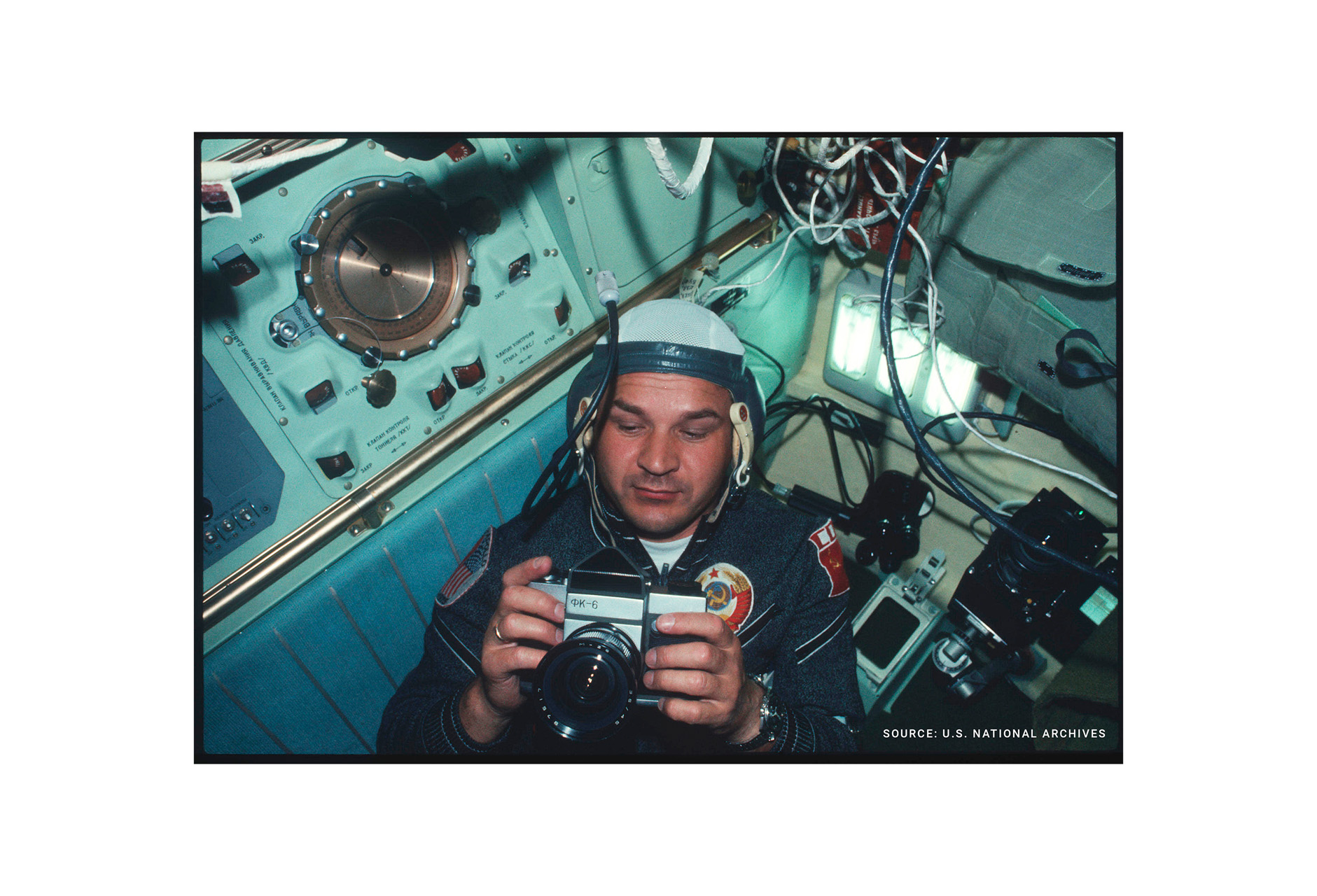 Kubarov with FK-6 camera (Pic: Alexei Leonov/US National Archives)