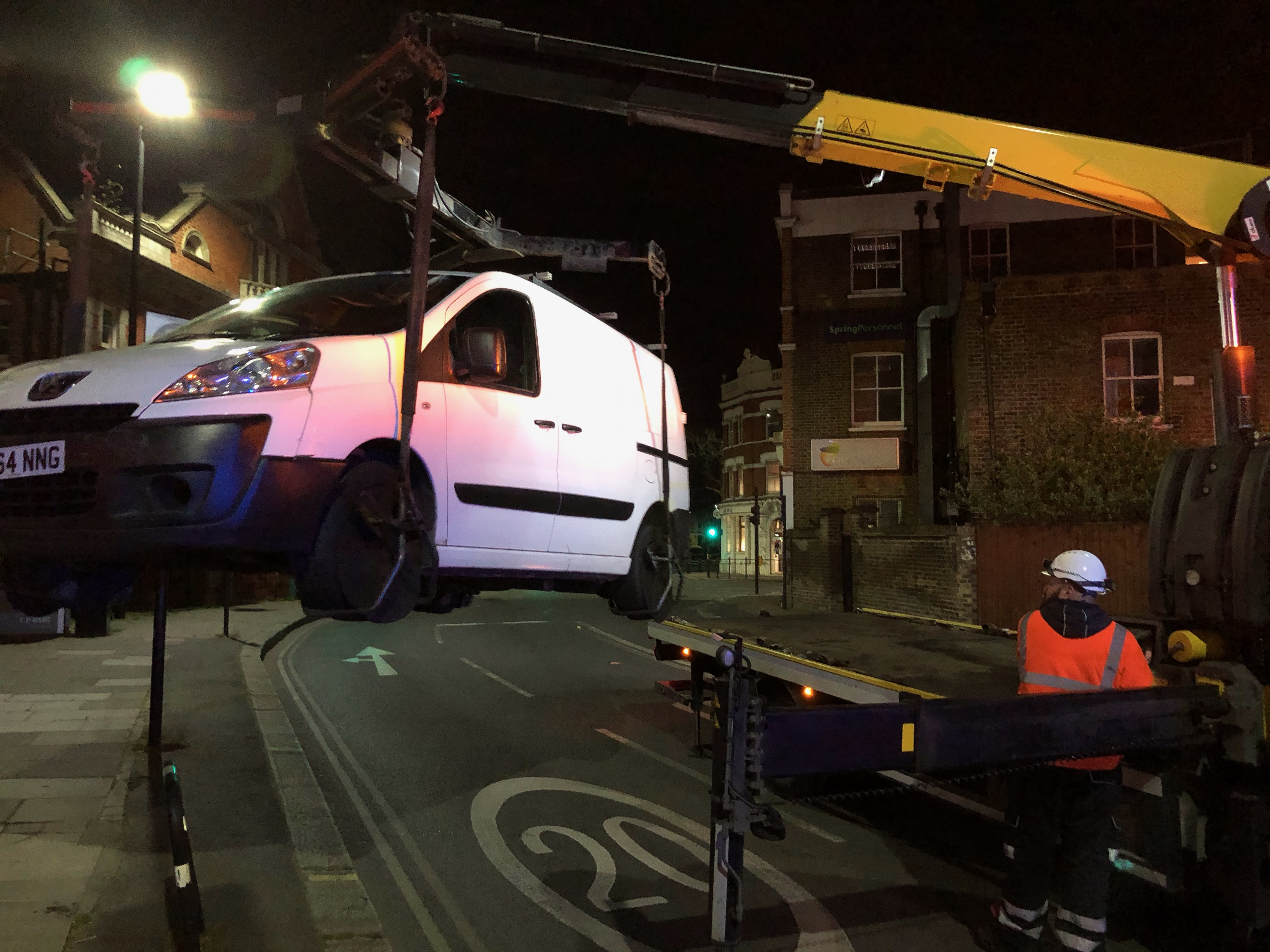 Van being lifted by crane (Pic: Andy Sands)