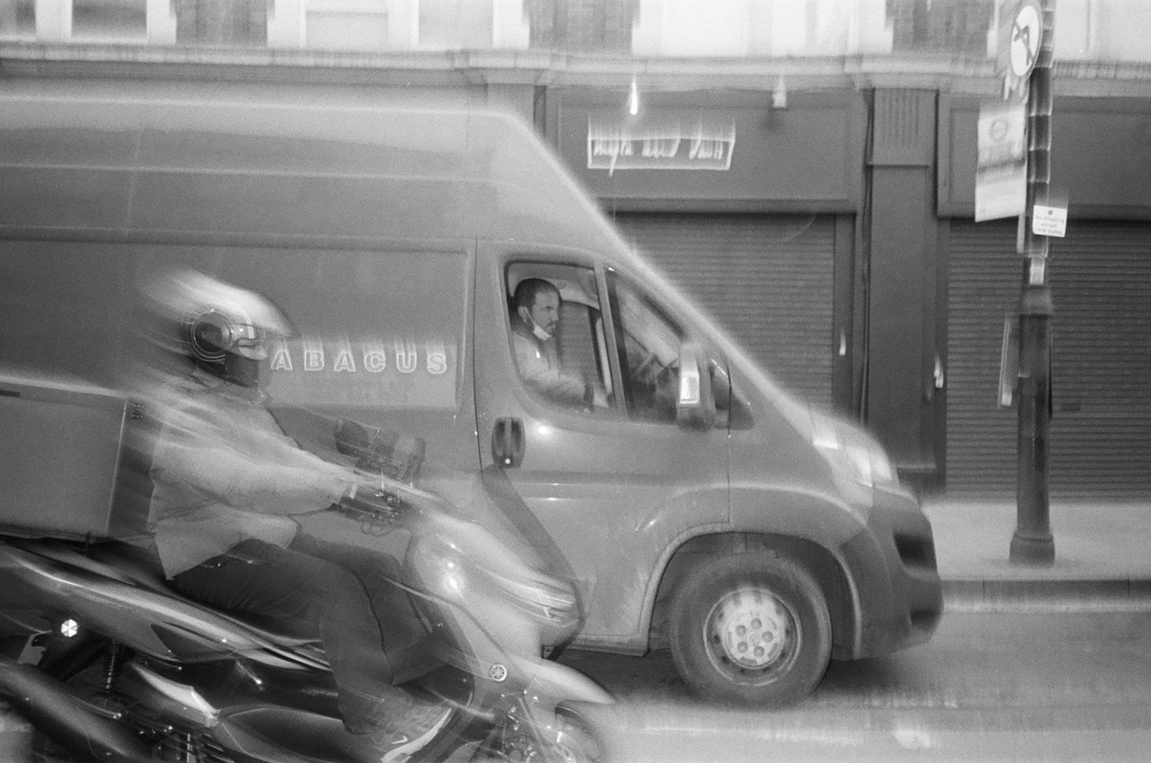 Blurred scooter and van (Pic: Rob Andrews)