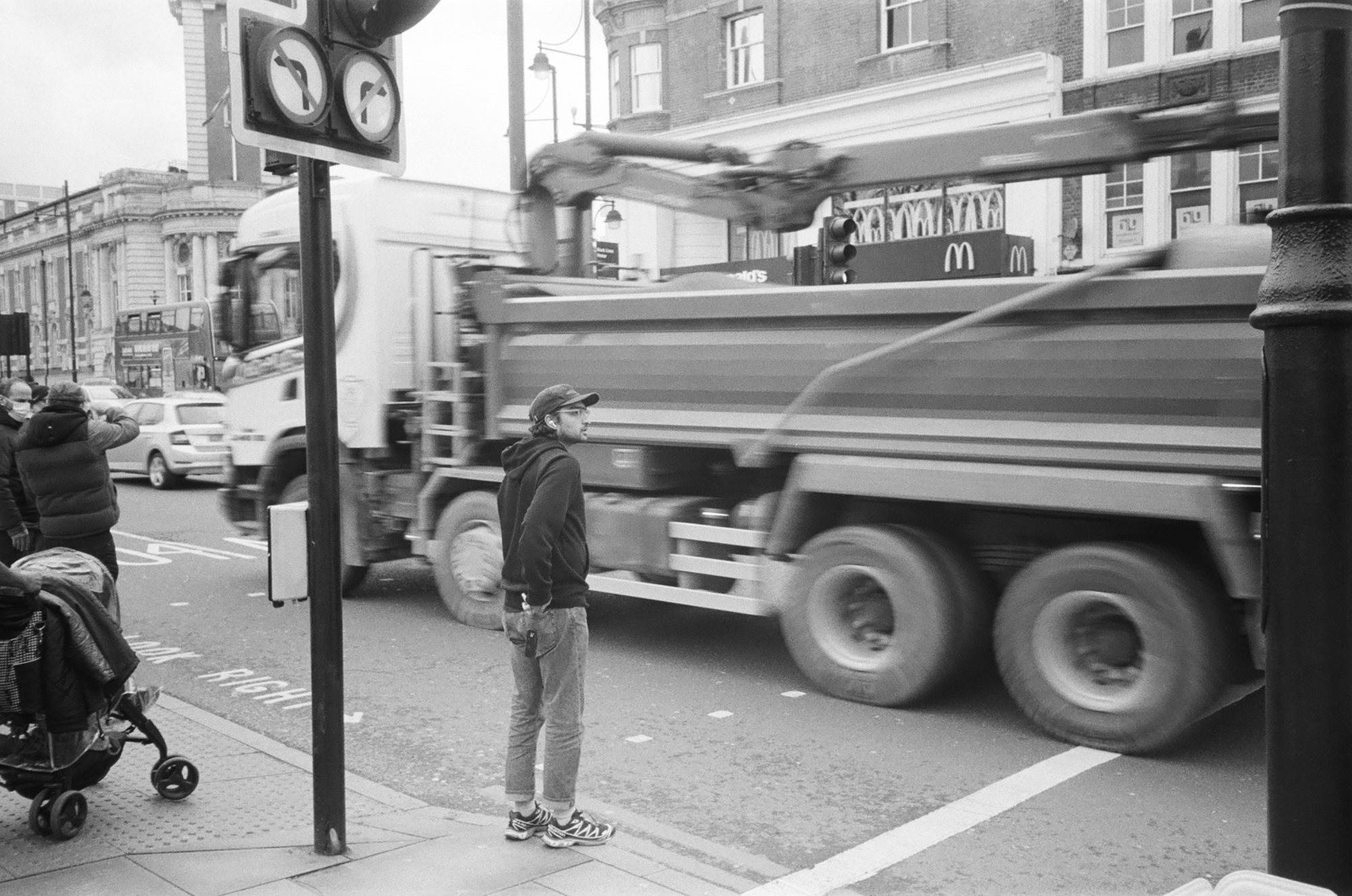 Man at pedestrian crossing and truck (Pic: Rob Andrews)