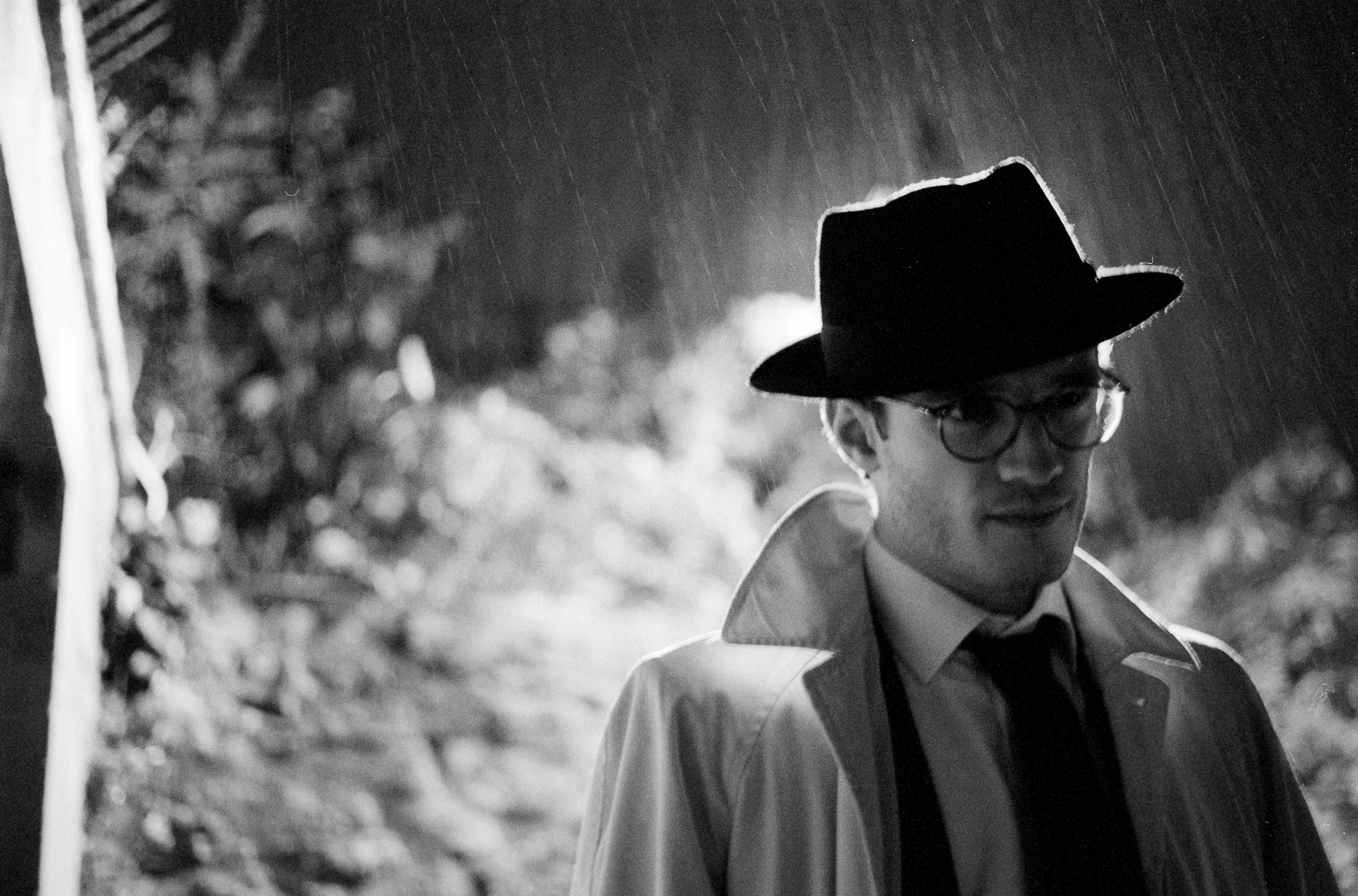 Spy character on rainy street (Pic: Stephen Dowling)