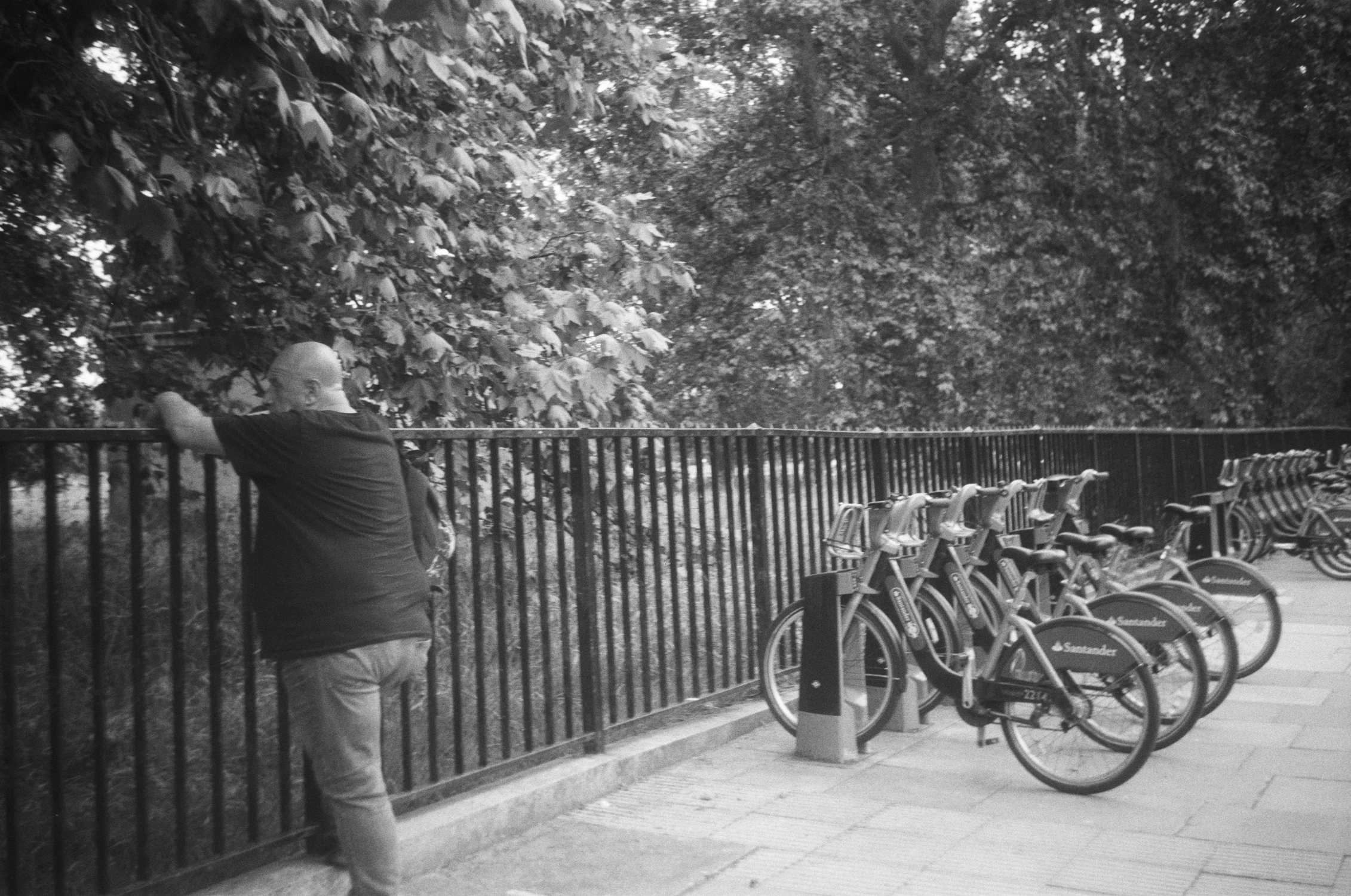 Man leaning against fence and bikes (Pic: Stephen Dowling)