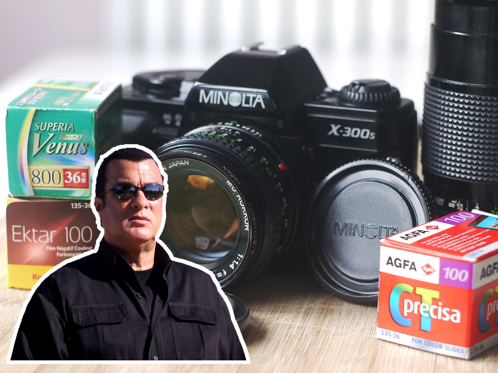 Minolta X300s and Steven Seagal (Pic: Rob Andrews/Gage Skidmore)