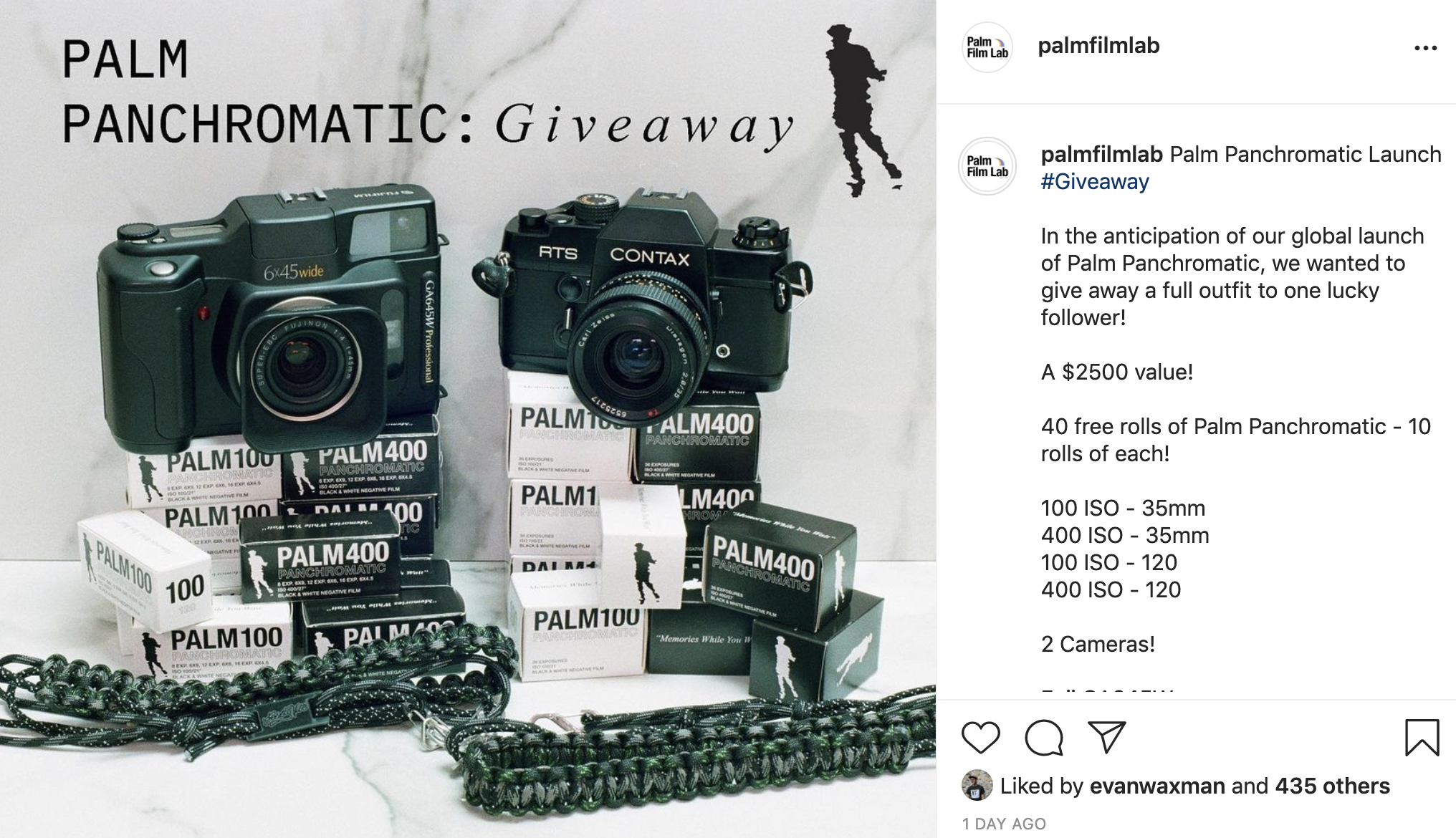 Post showing film and cameras (Pic: (Pic: Palm Film Lab/Instagram)