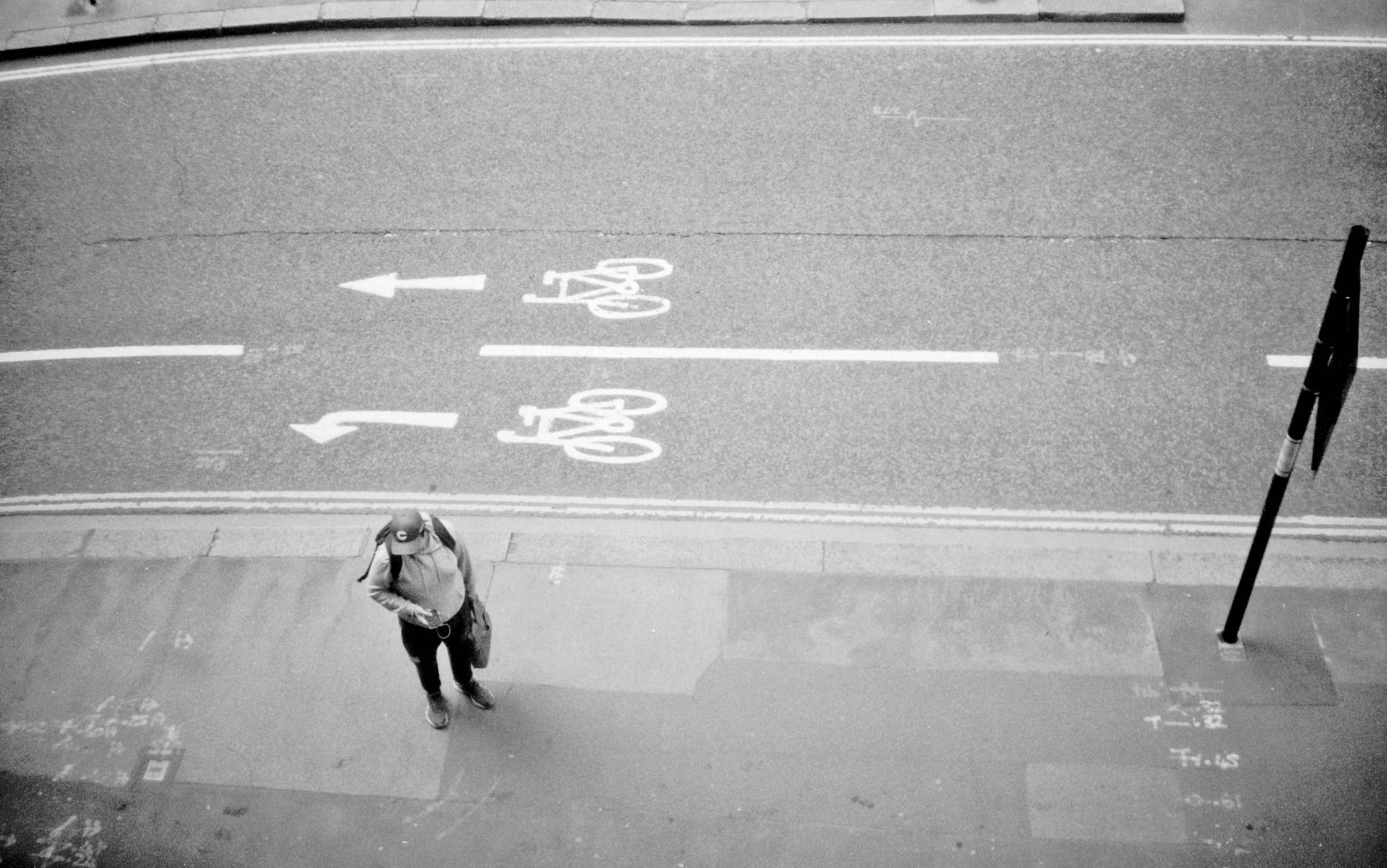 Man by road arrows seen from above (Pic: Stephen Dowling)